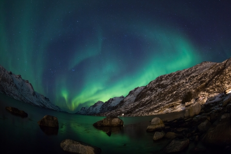 A Display Of Northern Lights Over Tromso