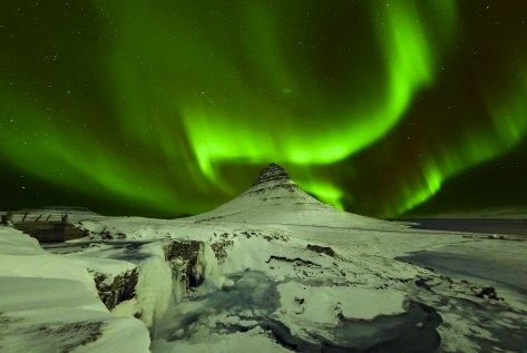 Spectacular Aurora Display Over Kirkjufell Mountain