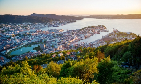 Sun Setting Over The City Of Bergen