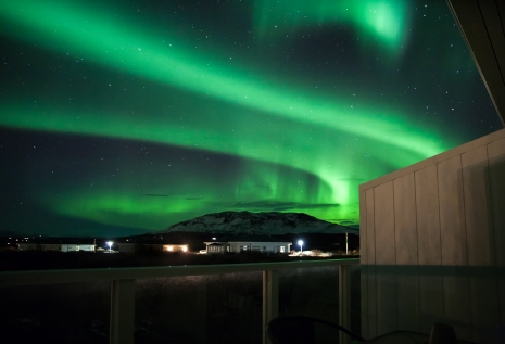 Northern Lights Over Hotel Grimsborgir