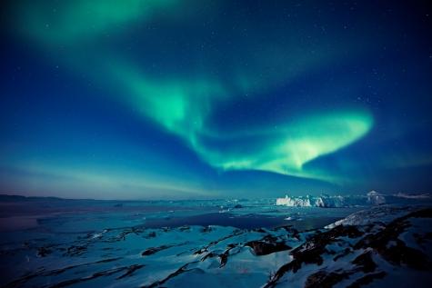 Northern Lights Over Ilulissat Icefjord
