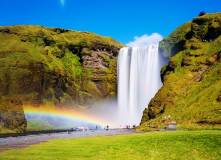 The Famous Waterfall Located In South Iceland