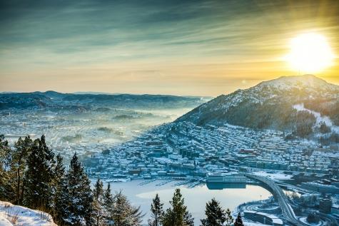 Beautiful Winter View Over Bergen