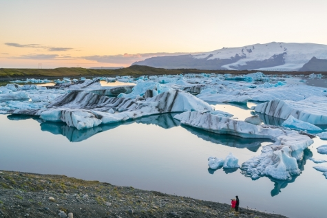 Sunset Over Jökulsárlón Glacier Lagoon