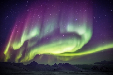 Northern Lights Over The Arctic Landscape