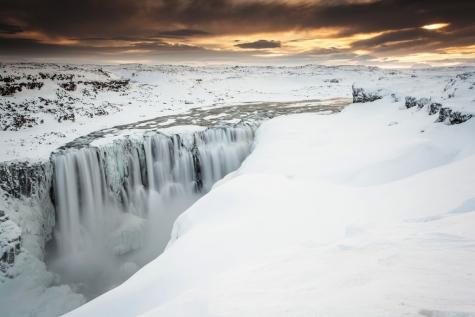 Winter Scenes By Dettifoss Waterfall