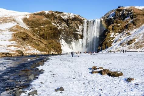 Winter View Over Skogafoss Waterfall