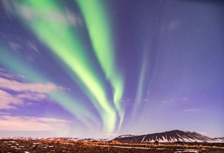 Northen Lights Dancing Over The Myvatn Area