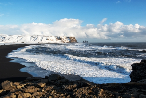 Winter Landscape Of The Black Sand Beaches